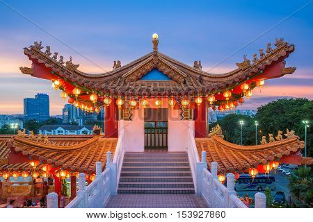 KUALA LUMPUR MALAYSIA - SEPTEMBER 15: Dusk view of Thean Hou Temple illuminated for the Mid-Autumn festival on September 15 2016 in Kuala Lumpur Malaysia.