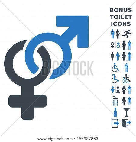 Heterosexual Symbol icon and bonus man and woman WC symbols. Vector illustration style is flat iconic bicolor symbols, smooth blue colors, white background.