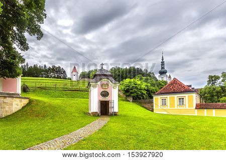 Park In Abbey Of The Holy Cross  In Austria.