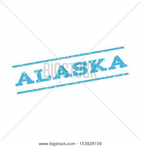 Alaska watermark stamp. Text Caption between parallel lines with grunge design style. Rubber seal stamp with scratched texture. Vector blue color ink imprint on a white background.