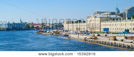 "Urban landscape: construction on quay of the river Neva and a cruiser ""Aurora"". Saint-Petersburg Russia poster"