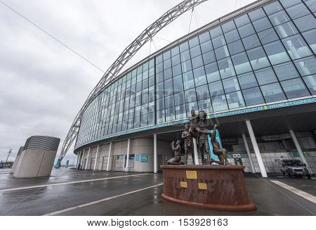 London, the UK - May 2016: Monument at Wembley stadium