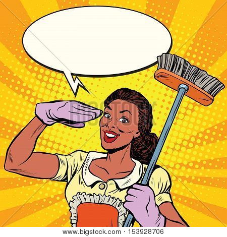 Beautiful woman cleaner with brush for floors, pop art retro comic book vector illustration. Service home cleaning