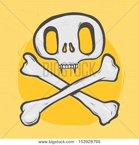 Cat skull and crossed bones isolated vector illustration on yellow