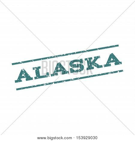 Alaska watermark stamp. Text Caption between parallel lines with grunge design style. Rubber seal stamp with scratched texture. Vector cobalt color ink imprint on a white background.