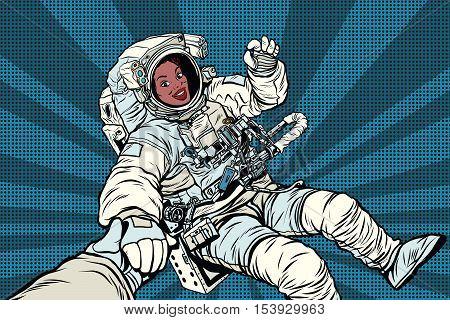 Woman astronaut African American gesture OK, pop art retro comic book vector illustration