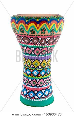 Front view of a colorful painted goblet drum (also chalice drum, tarabuka, darbuka, debuka, doumbek, dumbec, dumbeg, dumbelek, toumperleki, or tablah), is a single head membranophone with a goblet shaped body used mostly in the Middle East, North Africa,