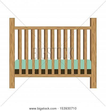 baby crib with wood railing vector illustration