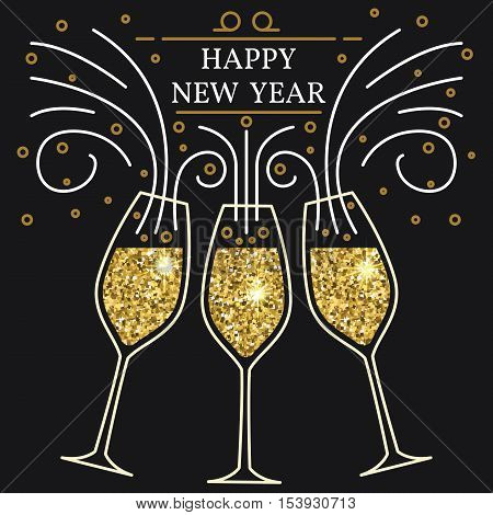 Happy new year greeting card. EPS10 vector. Champagne glasses thin line. Typography design for new year.