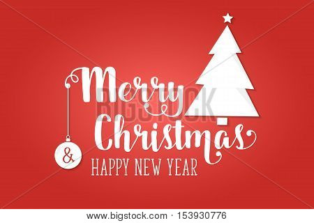 Merry Christmas greeting card . Vector illustration. Xmas design for congratulation cards, invitations, banners and flyers. Typography holiday illustration with text - Merry Christmas and Happy New Year. Hand drawn holiday illustration.
