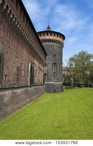 Detail of the Torrione del Carmine (Tower of Carmine) Sforza Castle XV century (Castello Sforzesco). Milan Lombardy Italy