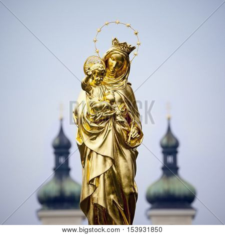 An image of the golden Madonna Statue in Tutzing Bavaria Germany