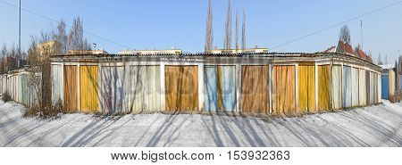 Old Garage Doors In A Row In The Gdr