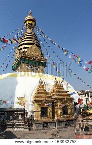 Stupa Bodnat flags and flowers in Kathmandu Nepal