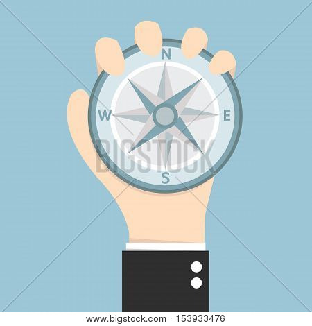 Business man holding compass flat design eps10.