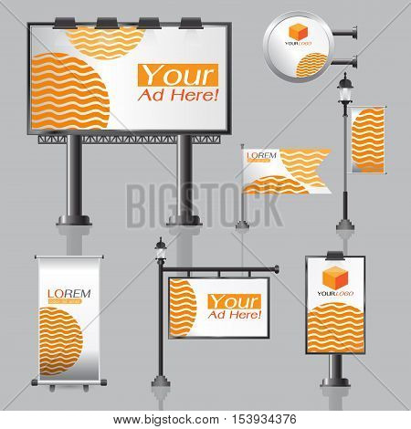 vector Outdoor advertising design for company with color circles Elements of stationery printing media Light box banner Roll Up flag White identity template background