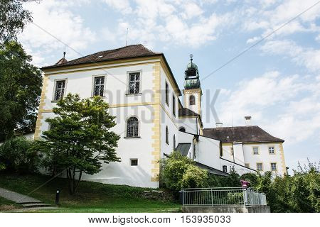 Sanctuary Mariahilf in Passau Germany. Cultural heritage. Religious architecture. Architectural theme. Side view. Travel destination.