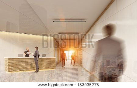 Side view of man talking to a receptionist while his twin is approaching. Concept of utopian future with clones. 3d rendering. Mock up. Toned image. Double exposure
