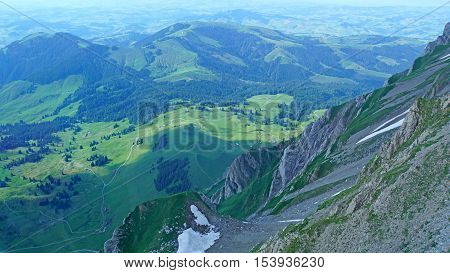 View from Saentis to the foothills of the Alps in Switzerland