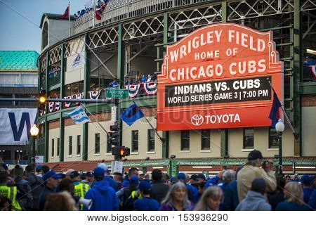 CHICAGO/OCTOBER 2016 Chicago Cubs fans gather in front of Wrigley Field marquee for historic beginning to World Series 2016
