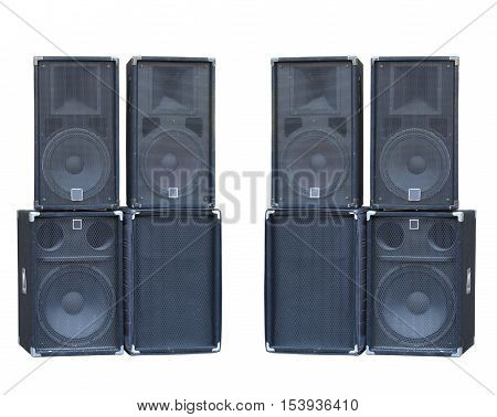 Old powerful stage concerto audio speakers isolated on white background