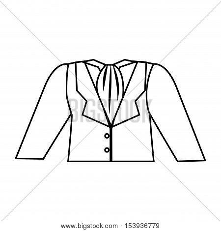 silhouette dress flight attendant with kerchief vector illustration