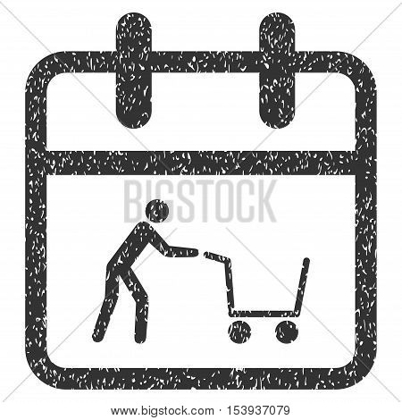 Shopping Day grainy textured icon for overlay watermark stamps. Flat symbol with dirty texture. Dotted vector gray ink rubber seal stamp with grunge design on a white background.