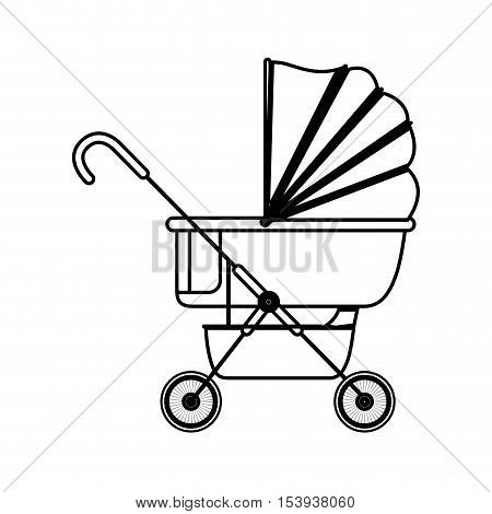 silhouette baby carriage with layette vector illustration
