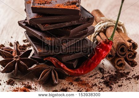 Chili Pepper with Chocolate Stack, Anise Star and Cinnamon Bundle.
