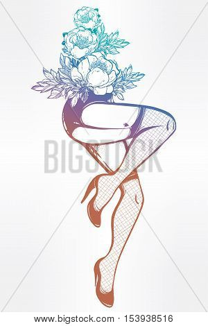 Decorative drawing in flash tattoo style with sexy female legs in fishnet stockings, high heels and flowers. Vector illustration isolated. Pop pin-up design, foot fetish symbol. Vintage art.