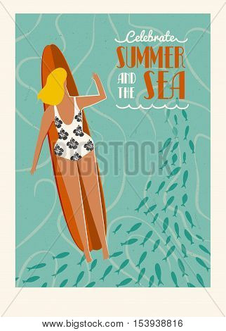 Art deco surf poster in vector. Summer beach surfing girl illustration. Love the ocean poster. Flat style illustration.