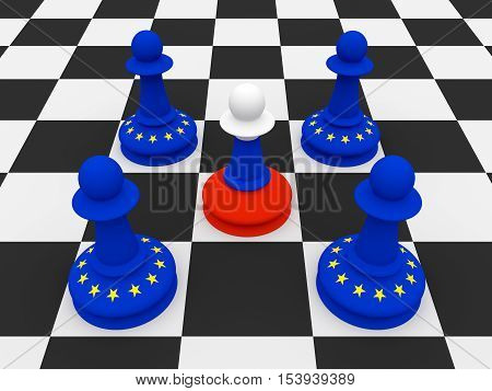 Conflict Between Russia And EU: One Russian and Four EU Flag Chess Pawns 3d illustration