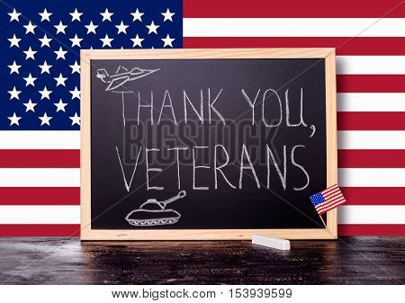 Greeting Card With Handwriting Text Thank You Veterans And  Painted Tank, Plane In Chalkboard On Fla