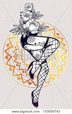 Decorative drawing in flash tattoo style with sexy inked female legs in fishnet stockings, high heels and flowers. Vector illustration isolated. Pop pin-up design, foot fetish symbol. Vintage art.