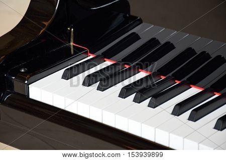 Close up of Piano Keys of Grand Piano