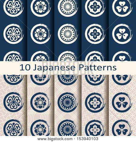 set of ten seamless vector traditional japanese patterns with circle symbols
