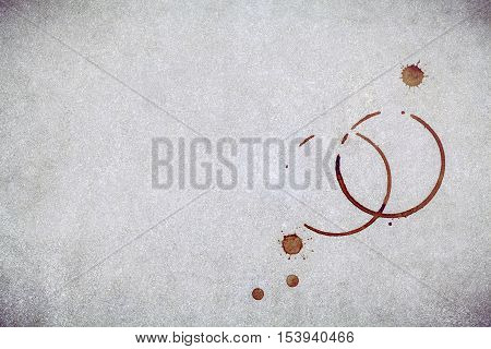 Beverage Background And Coffee Menu Design . Coffee Ring On Concrete Background . Coffee Stains On G