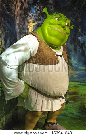 London, the UK - May 2016: Shrek wax figure in Madame  Tussauds museum