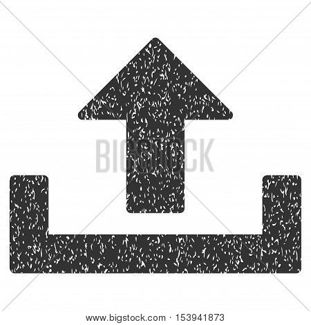 Upload grainy textured icon for overlay watermark stamps. Flat symbol with scratched texture. Dotted vector gray ink rubber seal stamp with grunge design on a white background.