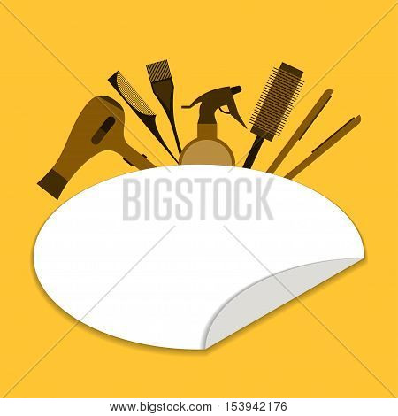 Beauty salon tools Vector illustration Template poster beauty salon tools: hair dryer hair straightener spray and comb Flat design