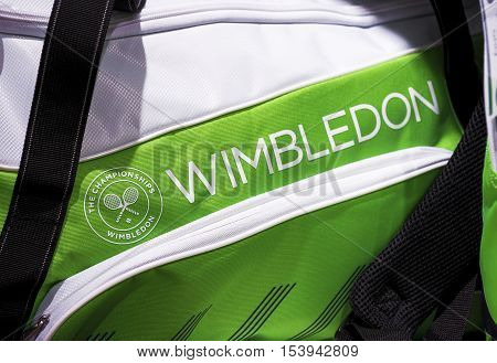 London, the UK - May 2016: Wimbledon souvenir bag in the official store