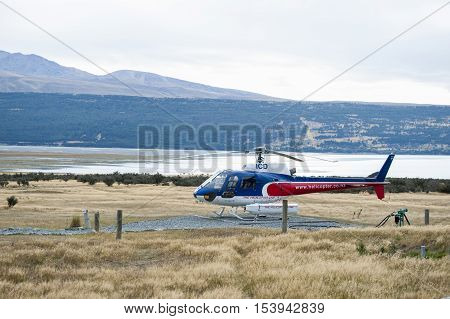 Mount Cook, New Zealand - February 2016:  The Helicopter Line Company, Mount Cook, New Zealand Offer