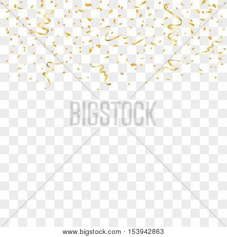 Gold confetti celebration isolated on transparent background. Falling golden abstract decoration for party birthday celebrate anniversary or event festive. Festival decor. Vector illustration