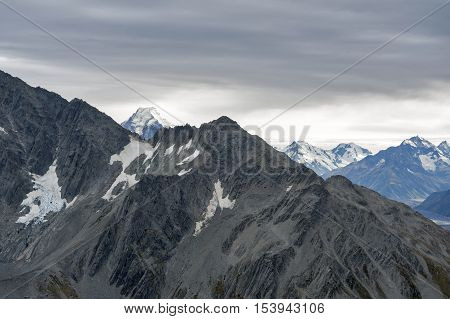 Mountain Range At Aoraki Mount Cook National Park, New Zealand
