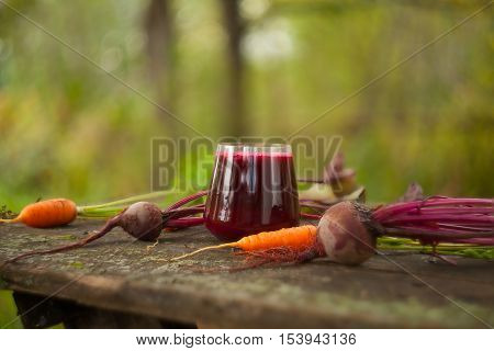 Beet-carrot Juice In Glass On  Table