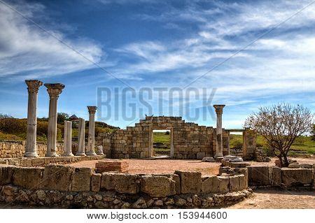 Ancient Greek basilica and marble columns. Chersonesus Taurica near Sevastopol in Crimea