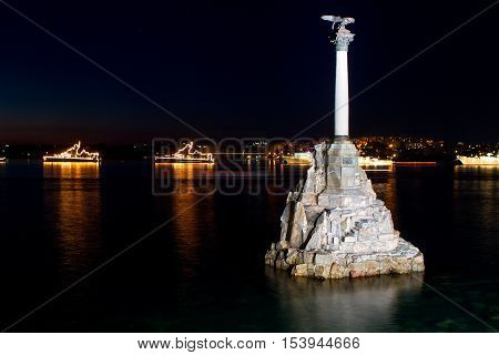 Monument to sunken ships the symbol of Sevastopol build in 1905 Crimea Russian