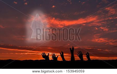 Group of hands reach up to Jesus Christ for salvation.