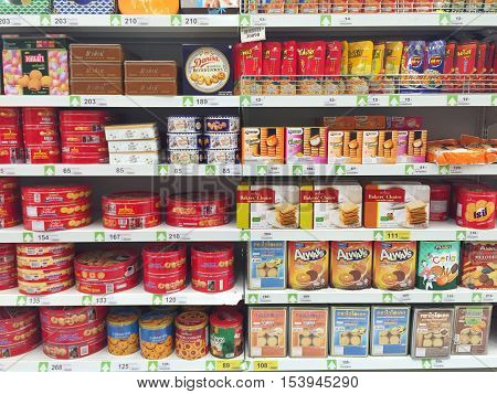 CHIANG RAI THAILAND - OCTOBER 28 : various brand of cookies in packaging in supermarket stand or shelf in Big C Supercenter on October 28 2016 in Chiang rai Thailand.