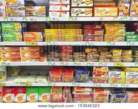 CHIANG RAI THAILAND - OCTOBER 28 : various brand of crackers in packaging in supermarket stand or shelf in Big C Supercenter on October 28 2016 in Chiang rai Thailand.